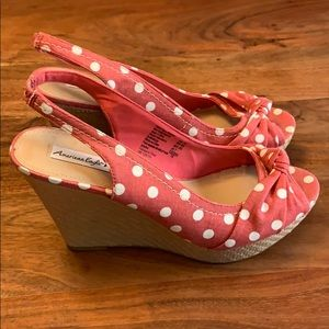American Eagle Wedge Sandals - Pink w/ Polka Dots